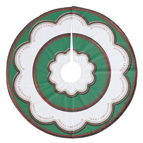 Traasd11an Christmas Tree Skirt, 30 inches Large Xmas Tree Skirts White Scallops Plaid Red and Green Christmas for Christmas Tree Decorations