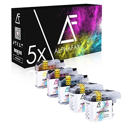 Alphafax 5 Patrone kompatibel mit Brother LC22UBK LC22UC LC22UM LC22UY für Brother MFC-J985DW [MIT CHIP]