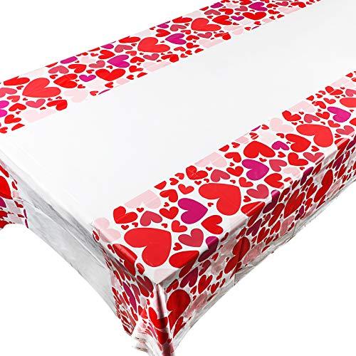 3 Manteles de Plástico Rectangular 180cm x 108cm Mantel de Mesa Fiesta San Valentín Boda Cumpleaños Decoración Comedor de Mesa Corazón Rojo