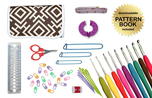 Gold Medal Crafts 44-Piece Ergonomic Crochet Kit with Downloadable Pattern Book, Hooks, Canvas Carrying Case and Accessories, Brown Geometric Pattern