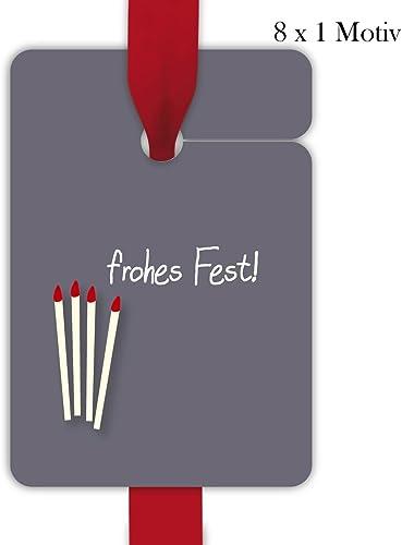 10x8 rotuzierte Weißachts Geschenkanh er   Deko Geschenkkarten   Papieranh er   Etiketten Format 10 x 6,9cm mit 4 Kerzen  frohes Fest
