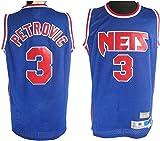 Camiseta de manga corta para hombre, diseño de Brooklyn Nets #3 Drazen Petrovic Classic Basketball Jersey, tejido transpirable unisex sin mangas, S: 170 cm/50 ~ 65 kg.