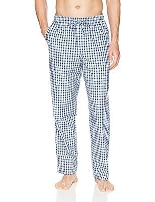 Amazon Essentials Men's Woven Pajama Pant, Light Blue/Navy Plaid, Large by Amazon Essentials