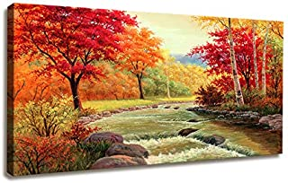 Modern Canvas Painting Wall Art The Picture for Home Decoration Autumn Fall Scene Beautiful Red Trees and Waterfall in Sunny Rays Landscape Forest Print On Canvas Giclee Artwork for Wall Decor