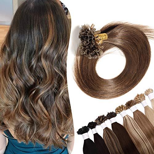 Extensions Echthaar Bondings Haarverlängerung Keratin U-Tip Human Hair 100 Strähnen Mittelbraun#4 18