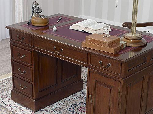 SIMONE GUARRACINO LUXURY DESIGN Scrivania Victorian Stile Inglese scrittoio ministeriale presidenziale bifacciale cm 120 Noce Ecopelle Bordeaux