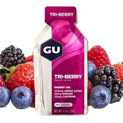 GU Energy Gel, Tri Berry (Waldfrucht), Box mit 24 x 32 g