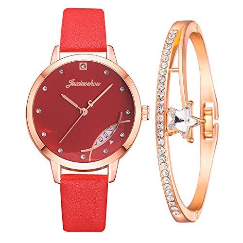 Reloj De Mujer con Brazalete, Reloj De Oro Rosa con Collar Reloj De Cuarzo Delgado y Resistente Al Agua Regalo para Mujeres