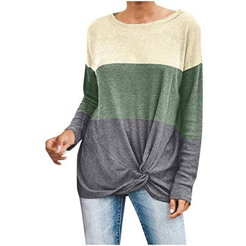 LILICAT Damen Baumwolle Shirt Tops Leicht Rundhals Pullover Basic T-Shirts Casual Mode Langarmshirt Sweatshirt Lose Langarm Jumper Stripe Strickpullover Freizeit Warm Pulli Sweater