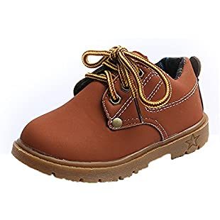 uBabamama Clearance!!! Spring Autumn Solid Color Children British Style Casual Shoes,Fashion Children Shoes Lace-up Shoes Sneakers Waterproof Eisure Shoes(Brown,7UK):Hashflur