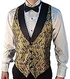 SixStarUniforms Men's Gold Metallic Tuxedo Vest with Black Lapel and Black Bow Tie Set Large