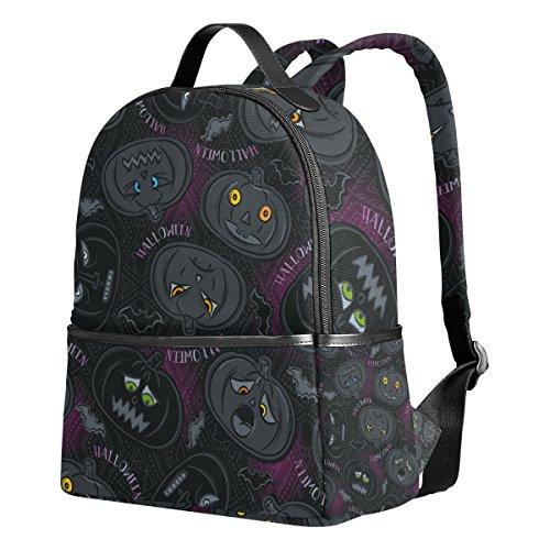 Ahomy Halloween-Kürbis-Laterne Fledermaus leicht, Grundschule Studenten-Rucksack für Mädchen, Büchertasche, Schulranzen