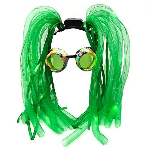 Rave Glasses Rave Accessories LED-Light up Dread Dreadlocks Headband Hair-Wig, Mardi Grass Costume Party