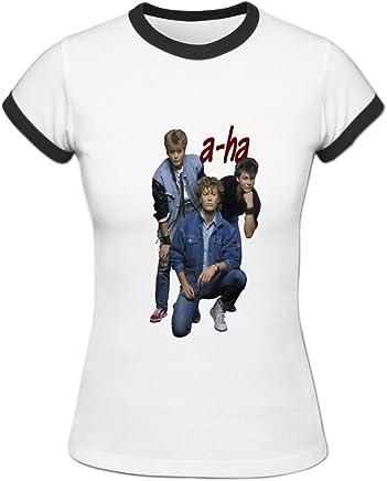 54fe77ca9e02 ZTANG Womens A-Ha Band Ringer t Shirt Blackwhite