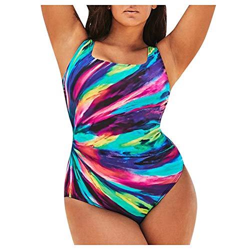 XOXSION Traje de baño para mujer, gran conservador, degradado de color a rayas, envolvente, una pieza Multicolor-a XL