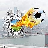 3D Wandtattoo Fußball mit Feuer Durchbrechen Die Mauer