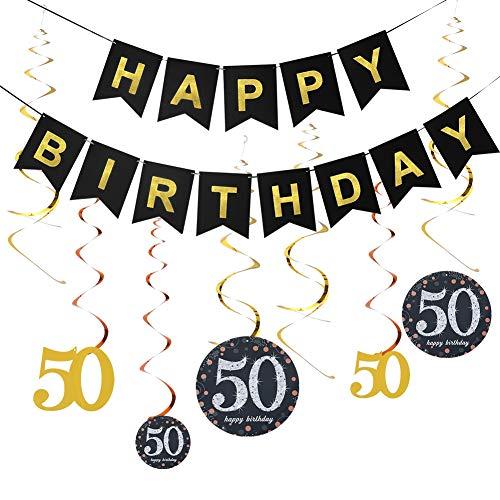Rubywoo&chili 50. Geburtstag Dekoration Set, 50. Geburtstag Swirl schwarz Partykette Girlande & Happy Birthday für Alle Männer und Frauen 50. Geburtstag Party deko