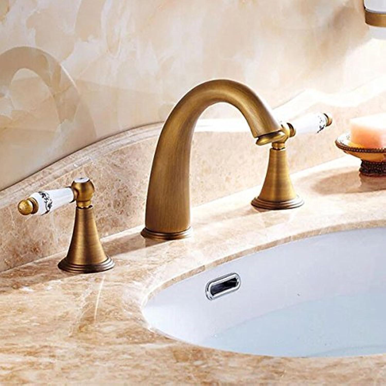 Maifeini Faucet, Faucet, Faucet, Faucet, Faucet, Faucet Antiques & Bronze Wide Bathrooms Basin Series Dual Handles Holes Basin Mixer Pool Deck Mixer color, Antique Brass One