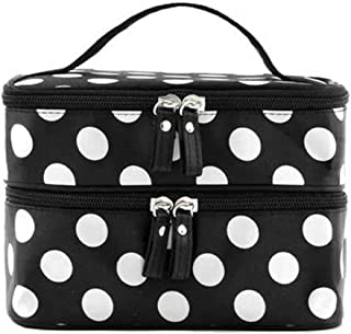 NiceWave Double Layer Cosmetic Bag Black with White Dot Travel Toiletry Cosmetic Makeup Bag Organizer With Mirror Beautiful Tools