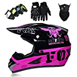 Cascos Integrales Infantil con Guantes Gafas Máscara, Aprobado DOT Conjunto Casco Motocross Motocicleta Adultos Casco protector Offroad Dirt Bike con Diseño FOX