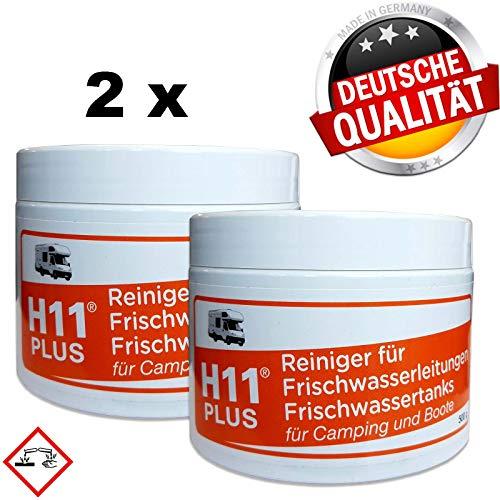 H11 Plus Frischwasser-Tank-Reiniger 2x 500 g für die Anwendung mit Kaltwasser für Wohnmobil Wohnwagen Boot