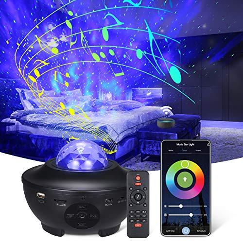 LED Sternenhimmel Projektor, Tomshine Wasserwellen Welleneffekt Nachtlichter,WIFI/Bluetooth/Musik Lautsprecher/Timer/Fernbedienung Projektionslampe für Erwachsene Geschenke Dekoration Weihnachten