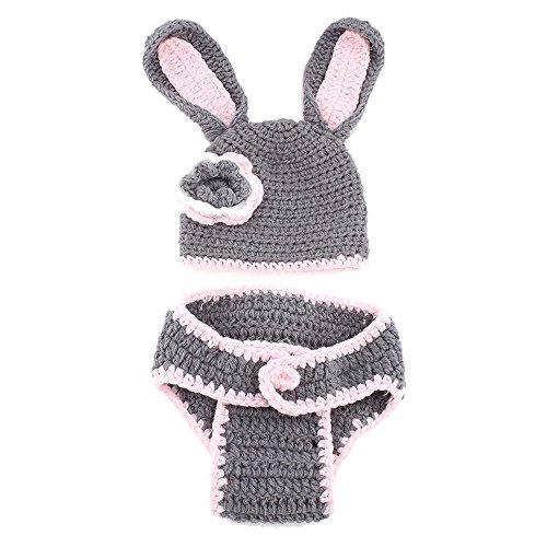 Newin Star Costume di uncinetto di Linda Coniglio Rosa, Atrezzo fotografia, abiti di neonato, fatto a mano, regalo per bebè