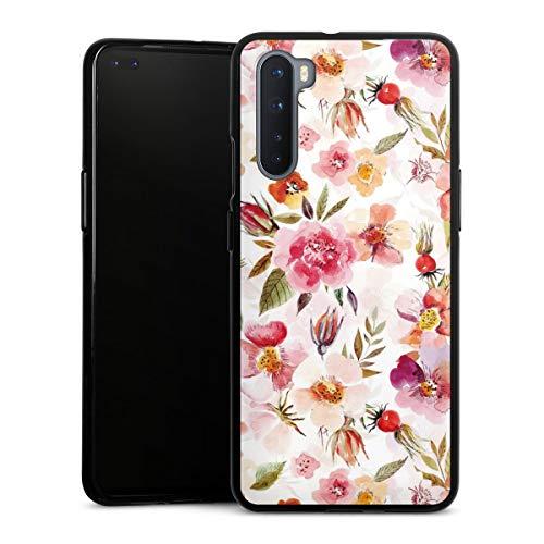DeinDesign Silikon Hülle kompatibel mit OnePlus Nord Case schwarz Handyhülle Tapete Frühling Blumen