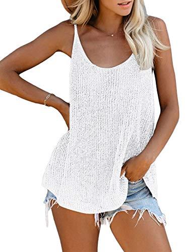 Zecilbo Women's Sexy Scoop Neck Knit Tank Tops Casual Loose Sleeveless Cami Blouse Shirts White Medium