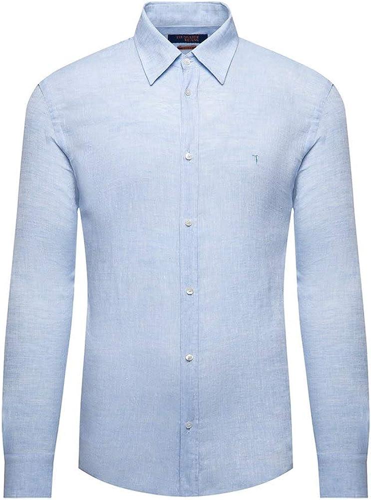 Trussardi jeans, camicia casual per uomo, maniche lunghe, 100% lino, CELESTE 52C001391T002248B