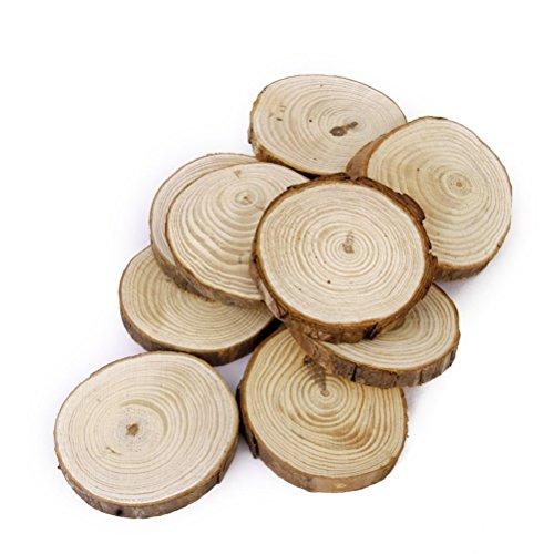 Tinksky Holzscheiben Holz-Scheiben Log Discs 6-8 CM für DIY Handwerk Hochzeit Mittelstücke-30st