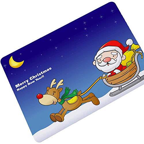 Weihnachten Elch Schneemann Fußmatte Gummi Türmatte Fußabstreifer Schmutzfangmatte Eingangsmatte für Haustür Innen und Außen 45x75cm