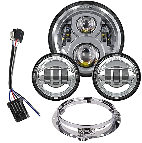 7 Inch LED Headlight with 4.5 Inch Passing Lights Compatible with Harley Davidson Classic Electra Street Glide Fat Boy Road King Heritage Softail with Bracket Mounting Ring Motorcycle Headlamps
