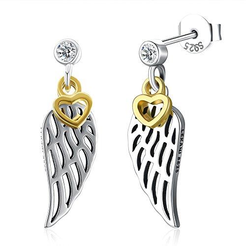 Ecloud Shop® Pendientes Colgantes en Plata S925 Pendientes Colgantes en Forma de alas de ángel con corazón Dorado