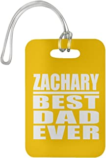 Zachary Best Dad Ever - Luggage Tag Bag-gage Suitcase Tag Durable - Father Dad from Daughter Son Kid Wife Athletic Gold Birthday Anniversary Christmas Thanksgiving