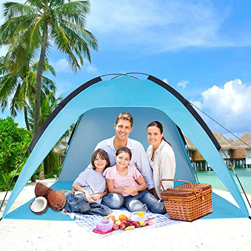 Sumerice Family Beach Tent and Sun Shade UV Cabana Shelter   Camping, Hiking, Fishing   Lightweight, Portable, Breathable, and Windproof   Collapsible (Blue)