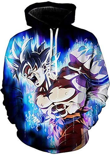 Yesgirl Herren Damen Unisex Hoodie Pullover Dragonball Z Hoodie Kakarotto Super Son Goku Anime 3D Druck Langarm Sweatshirt Super Saiyan Otaku Majin Buu Roshi's Casual Shirt N Schwarz XL