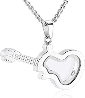 Glass Guitar Stainless Steel Cremation Urn Necklace For Memorial Ashes Women Men Keepsake
