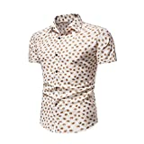 Camisa Hombre Slim Fit Transpirable Kent Collar Hombres Camisa Hawaiana Moda Vintage Botones Estampados Camisa Playa Manga Corta Negocios Urbanos Camping Hombre Camisa Casual C-Yellow XS