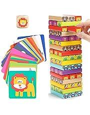 Nene Toys – Houten Vallende Toren voor Kinderen 4 in 1 met Dieren en Kleuren – Gezelschapsspel voor Meisjes Jongens van 3-9 Jaar Oud – Educatief Speelgoed dat Cognitieve Vaardigheden Ontwikkelt