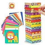 Nene Toys - Torre de Bloques Infantil de Madera 4 en 1 con Colores y Animales – Juego de Mesa...
