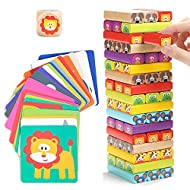 🦁 4 GAMES IN 1: Our wooden tumble tower game for kids and adults includes 4 variations to play with the whole family: 1) Build the tower while rolling the dice to know which coloured block to pull out; 2) Use animal's cards instead of the dice to pul...