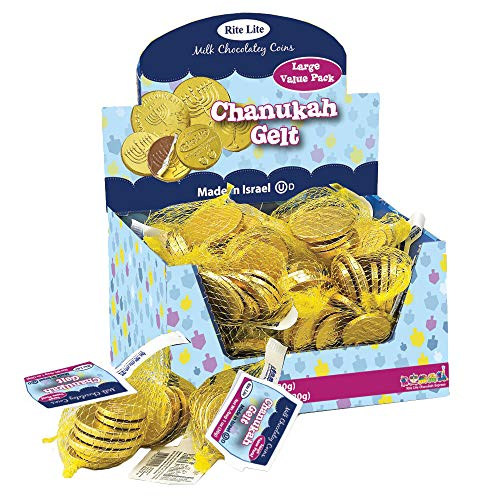 Rite Lite Chanukah Gelt Chocolate Extra Large Coins - 24 Bags In a Display Box - 1.1 Ounces of Chocolate Extra Large Coins, 3 Extra and 4 Small Coins Pack of 24 Hanukkah (Dairy)