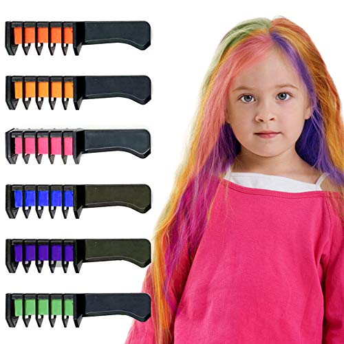 Hair Chalk Comb, Oasisblossom 6 Colors Temporary Hair Color Chalk Dye Crayon Salon Set for Girls Teen Kids Adults Gift, Safe Washable Makeup Kit for Birthday Christmas Party Cosplay DIY