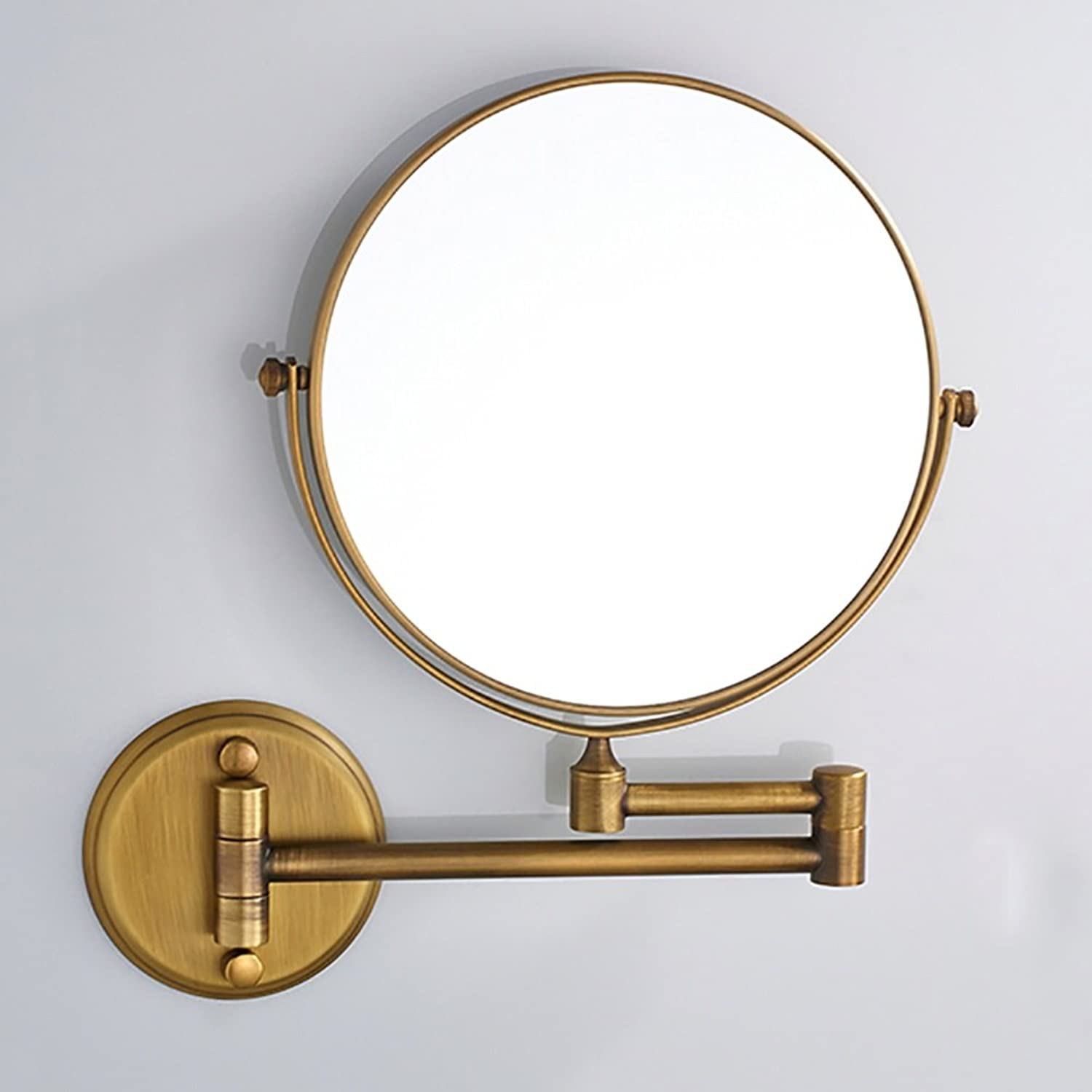 GUOWEI Mirror Double-Sided Wall Hanging 3X Magnification redatable Collapsible Stainless Steel Bathroom Dressing 3 colors (color   gold, Size   20x20cm)