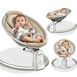 New elektrische hochwertige Babyschaukel mit 5 Schaukelgeschwindigkeiten, automatische Babywippe tragbar im Luxus Design, Musik durch Bluetooth, nutzbar ab der Geburt bis max. 9 kg, 2020 khaki