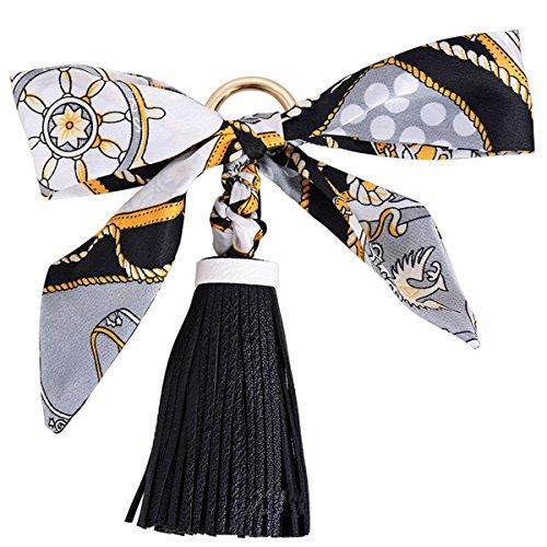 Reizteko Pretty Silk Like Scarf & Leather Tassels Keychain Backpack Keyring Purse Pendant Handbag Charm (Black)
