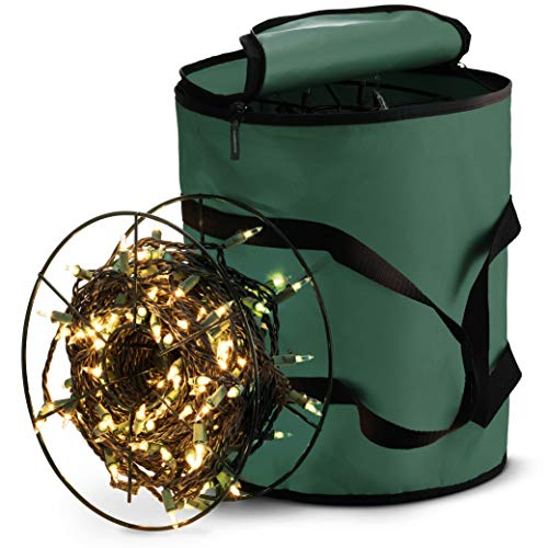 ZOBER Premium Christmas Light Storage Bag - with 3 Metal Reels to Store a Lot of Holiday Christmas Lights Bulbs, Tear-Proof 600D Oxford Fabric, Reinforced Stitched Handles - 5-Year Warranty