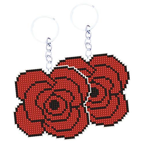 non-brand Perlenstickerei Komplett Set vorgedruckt Stickerei Vorlage Perlen Stickerei Set- Anhänger, Schlüsselahänger, Farbwahl - rote Rose