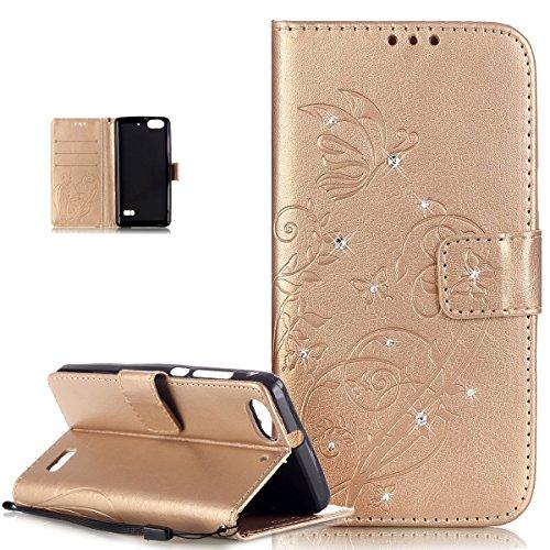 Funda Huawei Honor 4C, funda Huawei G Play Mini ikasus® Funda de piel sintética TPU con absorción de golpes, diseño repujado de viñas, flores y mariposas en 3D,